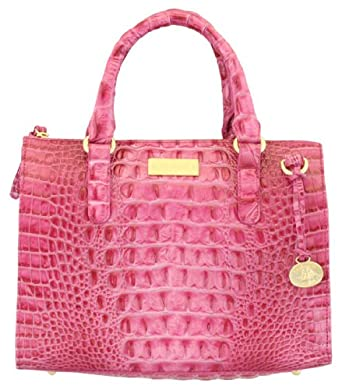 Brahmin Melbourne Anywhere Convertible Croc Bag fuchsia