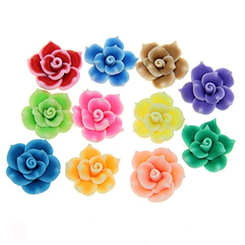HlDIY 30Pcs Colorful Polymer Fimo Clay Handcraft Flower Rose Spacer Beads 25Mm