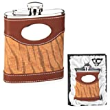 Brown Leather Flask Animal Stripes in Gift Box w/ Funnel