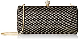 La Regale Fishnet Fabric Clutch, Black/Gold, One Size