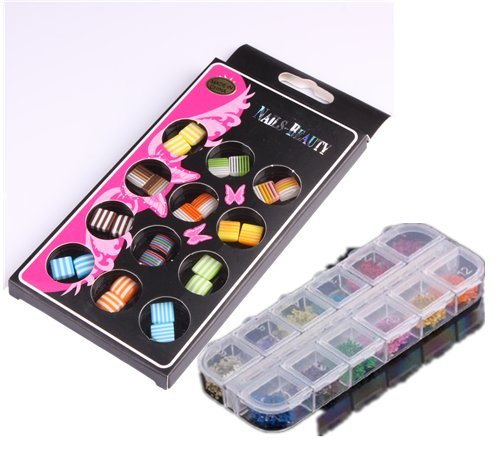 WAWO Dried Flower Nail Art Decoration Mixed Colours Shapes in Case by WAWO