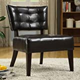 Enitial Lab Davi Compact Faux Leather Armless Accent Chair, Espresso