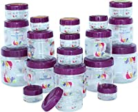 Princeware Mini Combo Plastic Jar Set, 19-Pieces, Transparent