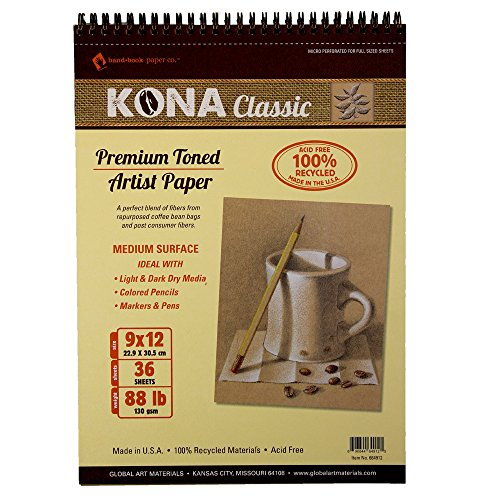 Global Art Materials Kona Classic Toned Artist Paper Pad, 9 by 12-Inch