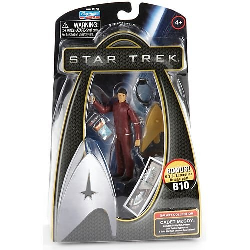 Buy Low Price Playmates Star Trek Movie Series Galaxy Collection 4 Inch Tall Action Figure – CADET McCOY with Utility Belt, Phaser, Data Tablet, Hypospray and Gold Starfleet Emblem Figure Stand Plus Bonus U.S.S Enterprise Bridge Part B10 (B003H19ORO)