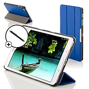 Forefront Cases Leather Case Cover with Magnetic Auto Sleep Wake Function and Stylus Pen for 8 inch Samsung Galaxy Tab 3 - Blue
