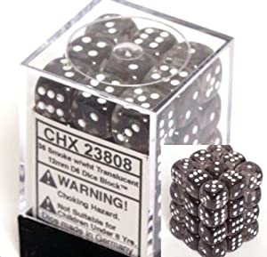 Chessex Dice d6 Sets: Smoke with White Translucent - 12mm Six Sided Die (36) Block of Dice