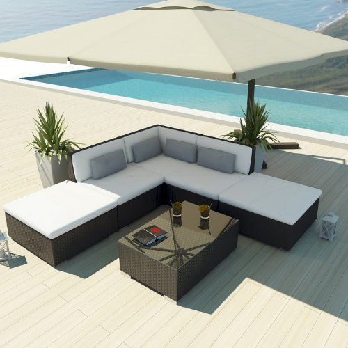 Uduka Outdoor Sectional Patio Furniture Espresso Brown Wicker Sofa Set Porto 6 Off White All Weather Couch picture