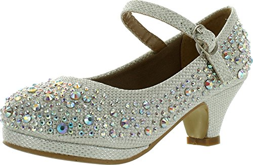 Forever Dana-58k Kids Mid Heel Rhinestone Pretty Sandal Mary Jane Platform Dress Pumps White 4