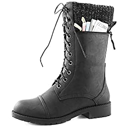 Women\'s DailyShoes Combat Style Lace up Ankle Bootie Round Toe Military Knit Credit Card Knife Money Wallet Pocket Boots, Black Pu, 9