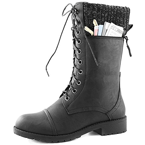 Women's DailyShoes Combat Style Lace up Ankle Bootie Round Toe Military Knit Credit Card Knife Money Wallet Pocket Boots, Black