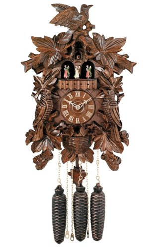River City Clocks MD873-21 Eight Day Musical Cuckoo Clock with Dancers, Seven Leaves with Three Birds And Bird Nest, 21-Inch Tall