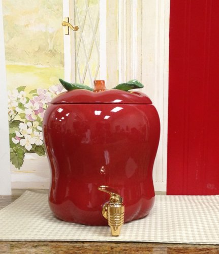 Tuscany red apple shaped kitchen decor ceramic water for Apple decoration kitchen