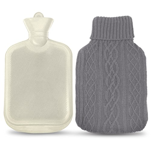 AZMED Classic Rubber Hot Water Bottle with Knitted Grey Cover, 2 Liters, White (Hot Water Bottle For Pain compare prices)