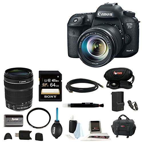 Canon EOS 7D Mark II Digital SLR Camera with 18-135mm IS STM Lens and 64GB Deluxe Accessory Kit (Canon 7d Package compare prices)