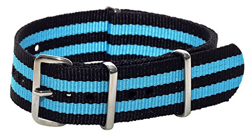 Clockwork Synergy Classic Nylon Nato watch straps bands (18mm, Black / Sky Blue)