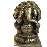 Dungri ® Five Head Lord Ganesha Statue Sculpture Handmade Brass Hindu God Statues ,Showpiece Figurine,Antique Design Statue Diwali Gift Idea(Size: L - 2 X W - 1.75 X H - 3 Inches) With FREE BRASS CLEANING POWDER