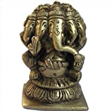 Five Head Lord Ganesha Sculpture Handmade Brass Hindu God Statues from India 7.62 x 4.45 x 5.08 cmsby DakshCraft