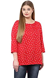 Alto Moda by Pantaloons Women's Tunic ( 205000005646592, Red, XX-Large)