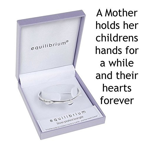 Equilibrium Silver Plated Bangle - A Mother Holds Their Childs Hand For A While..And Their Hearts For Ever