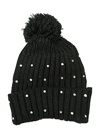 Womens Hats Ladies Woolly Bobble Hats Knitted Black Ski Hats Diamante Bling: ...