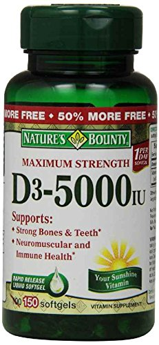 Natures Bounty Vitamin Softgels D3-5000 IU Maximum Strength