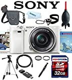 Sony Alpha A6000 A 6000 ILCE6000L/W ILCE6000L ILCE-6000L ILCE 6000L w/ 16-50mm Lens (White) + 32GB Deluxe Accesory Kit