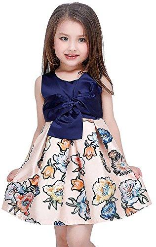 Newill Vestido de Princesa Estampado Floral sin Mangas para Niña 8-10 años