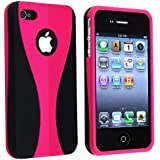Snap-on Rubber Coated Case for Apple® iPhone® 4 4S 4GS 4G AT&T / Verizon, Hot Pink / Black