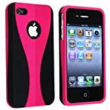 Snap-on Rubber Coated Case for Apple iPhone 4 4S 4GS 4G AT&T / Verizon, Pink / Black
