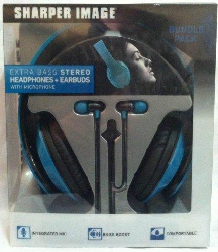 Sharper Image Shp2300-2Bl Headphones & Earbud Bundle Pack Turquoise