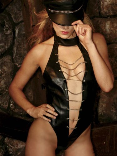 Hustler Lingerie Leather And Chain Open Front Teddy