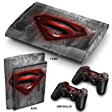 PS3 Super Slim Playstation autocollants de peau en PVC pour la console 2 manettes tapis Decal couverture de protecteur de cuir Effet Art Red Superman