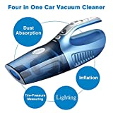 Infitary® 4-in-1 Handheld Auto Car Vacuum Cleaner Portable Dust Vacuum Cleaner Collector Wet/Dry 12V 100W Vacuum with Tire Inflator Tire Pressure Gauge and Led Light (Blue)