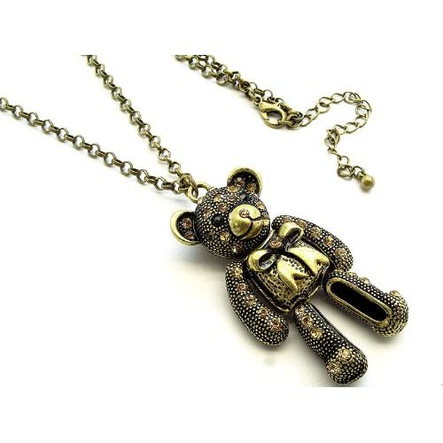 Bear with Crystal Stone Best Friend Teddy Necklace