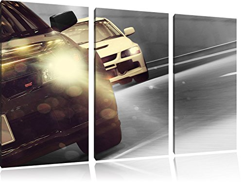 fast-road-race-black-white-3-piece-canvas-art-120x80-image-on-canvas-huge-xxl-pictures-completely-fr