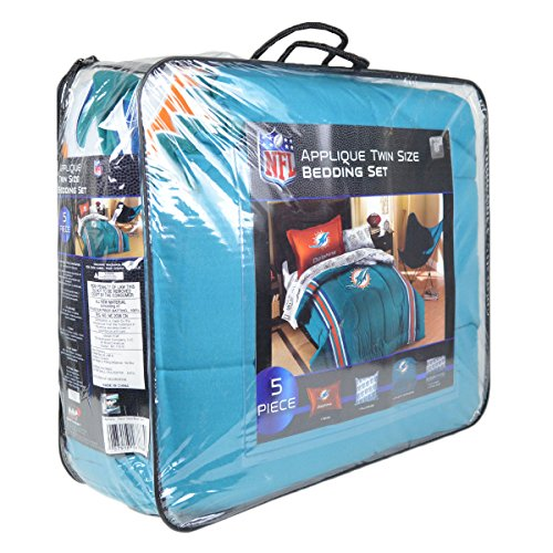 Officially Licensed Nfl Twin Bed Applique Comforter And Bedding Set - Miami Dolphins