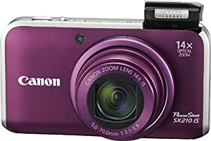Canon PowerShot SX210IS 14.1 MP Digital Camera with 14x Wide Angle Optical Image Stabilized Zoom and 3.0-Inch LCD (Purple)