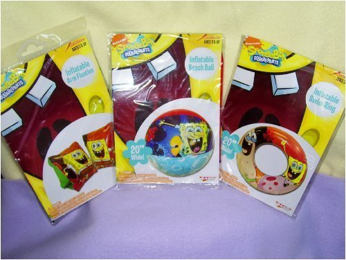 Spongebob Squarepants Inflatable Arm Floaties & Beach Ball & Swim Ring Sold As a Set by Rand