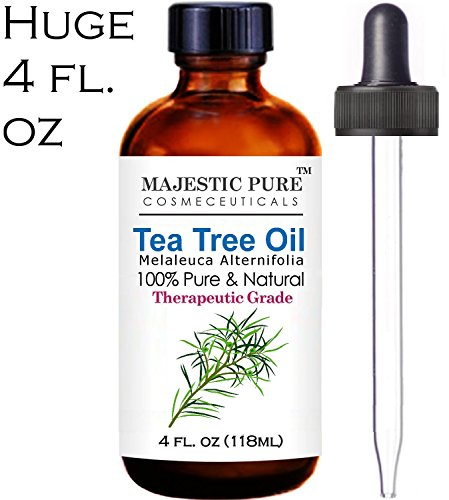 Majestic Pure Tea Tree Oil Australia - 4 Oz Premium Quality, 100% Natural & Pure Essential Oil - Therapeutic Grade - Numerous Skin Benefits - Common Home Remedy for Variety of Skin Conditions