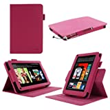rooCASE Dual-View Multi Angle (Magenta) Folio Case Cover for Amazon Kindle Fire 7-Inch Android Tablet (NOT Compatible with Fire HD)