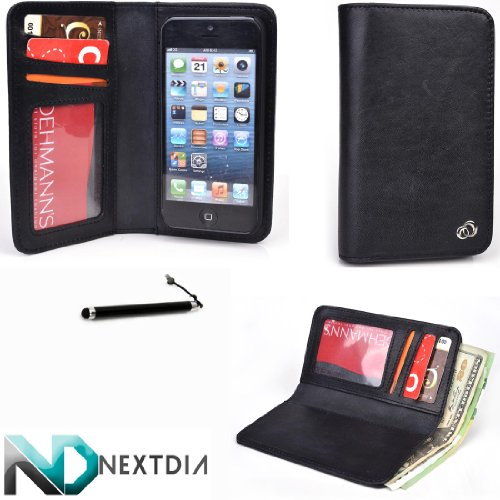 Great Price Genuine Leather Smartphone Wallet for Iphone 5 / 5s - Men's - Unisex Bifold | Black | Includes Magnetic Phone Shell & Bonus Stylus from NextDia