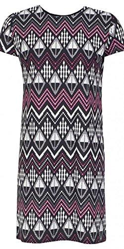 Womens Aztec Crepe T-Shirt Dress Ladies (8 - Black)