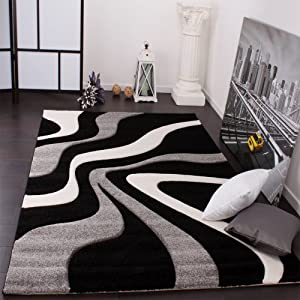 Designer Rug with Contour Cut Waves Pattern Black Grey White from PHC