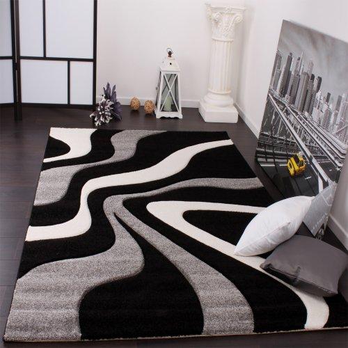Tappeto Di Design Motivo Ondulato Orlo Lavorato A Mano Nei Colori Nero Grigio Bianco, Grösse:160x230 cm