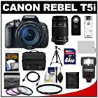 Canon EOS Rebel T5i Digital SLR Camera & EF-S 18-135mm IS STM Lens with EF-S 55-250mm IS Lens + 64GB Card + Battery + Case + Flash + 3 UV/CPL/ND8 Filters Kit