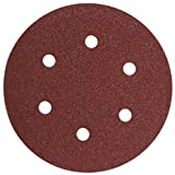 Bosch SR6R060 6-Inch Hook & Loop Sanding Disc, 6-Hole, Red, 60 Grit, 5 Pack