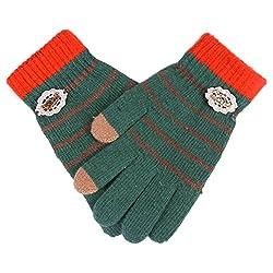 Damara Women's Durable Touch Screen Stripe Knit Wool Gloves,Green