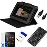 GTMax 7 Items Essential Accessories Bundle kit for Amazon Kindle Fire HD 8.9 inch Tablet -- Black Lizard Pattern Swivel Smart Leather Case Cover included [ Bulit-in Stylus Loop, Automatically Wakes and Puts your Tablet to Sleep]