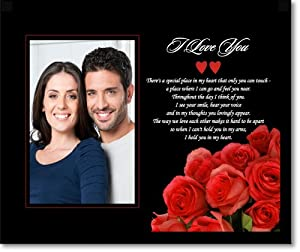 Romantic I Love You Gift for Husband, Wife, Boyfriend or Girlfriend in Red Rose Design for an Anniversary, Birthday - Add Photo